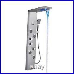 MENATT Muti-Function Shower Panel Tower System, 5 in 1 Stainless Steel LED