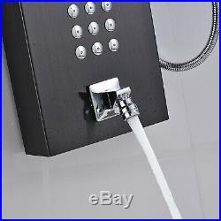 Matte Black Thermostaic Shower Panel Shower Tower Massage Jets Sprayer Tap