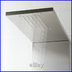Modern Screen Bathroom Brushed Nickel Massage Spray Shower Panel Column Faucet