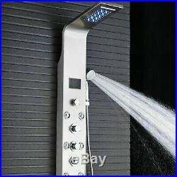 Nickel Shower Column Panel LED Head Massage Jets Hand Shower Bidet Sprayer Tap