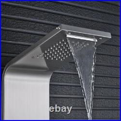 Nickel Shower Faucet Panel Tower Rainfall Waterfall Massage System Body