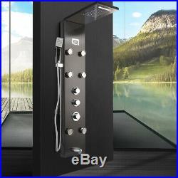 RE Black Shower Panel Tower System Rainfall&Waterfall Massage Body Jets