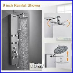 ROVATE 304 Stainless Steel Shower Panel Tower System Wall Mounted Shower Syst