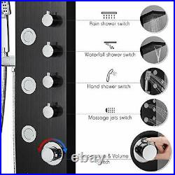ROVOGO Shower Panel Tower with Rainfall Waterfall Shower Head 5 Body Jets and