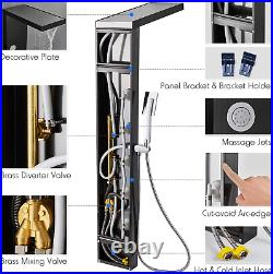 ROVOGO Shower Panel Tower with Rainfall Waterfall Shower Head, 5 Body Jets and 3
