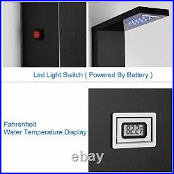 ROVOGO Stainless Steel Shower Panel Tower System LED Rainfall Waterfall Showe