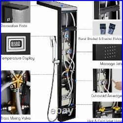 ROVOGO Stainless Steel Shower Panel Tower System, LED Rainfall Waterfall Shower