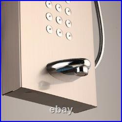 Rose Gold Digital Display Massage Rain Shower Panel Tower Hand Shower Tap System