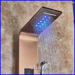 Rosegold Shower Panel Column LED Stainless Steel Massage Body Rain System Jet UK