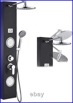 Rovogo Stainless Steel Rainfall Shower Panel Tower System, 9-Inch Round Head Sho