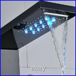Rozin Luxury Black Bathroom Shower Faucet LED Shower Panel Column Bathtub Mixer