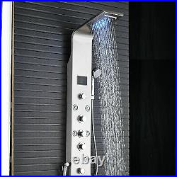 Rozin Stainless Steel Shower Panel Tower System 6-Function Faucet Brushed Nickel