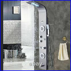 Rozin Stainless Steel Shower Panel Tower System, LED Rainfall Shower Faucet