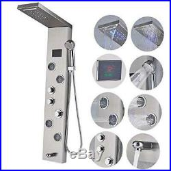 Rozin Stainless Steel Shower Panel Tower System, LED Rainfall Waterfall Shower