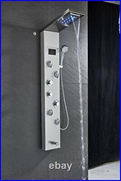 Senlesen LED Shower Panel Tower System Rainfall Waterfall Shower Faucet Fixtu
