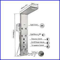 Shower Column Panel & Hand Spray Massage Jets Taps Kit Bathroom Wall Mounted