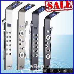 Shower Column Panel Shower Faucet LED Wall Mount Tower Set Brushed Nickel, Black