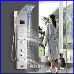 Shower Panel Column LED Hand Shower Waterfall Tower Massage Body Jets Bathroom