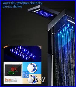 Shower Panel Column LED Shower Head Rainfall & Waterfall Stainless Steel Blue UK