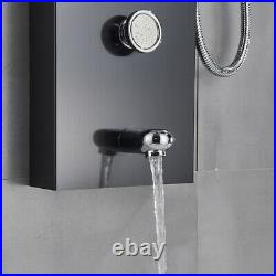 Shower Panel Column Tower Black LED with Body Jets Waterfall Bathroom Mixer Taps