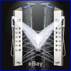 Shower Panel Column Tower LED Temperature Display Massage Jets Brushed Nickel