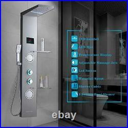 Shower Panel System Tower with Shelf, LED Rainfall and Mist Head Rain Massage