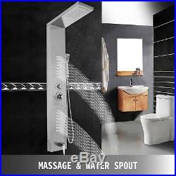 Shower Panel Tower 5in 1 Rain&Waterfall Massage Body System Jets Stainless Steel