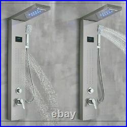 Shower Panel Tower LED Rain&Waterfall Head Combo Massage System Stainless Steel