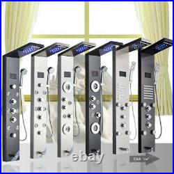 Shower Panel Tower LED Rain Waterfall Massage Body System Jets Shower Faucet Set