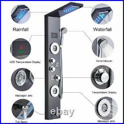 Shower Panel Tower Massage Jet Hand Shower Tub Set Black Mixer Tap Faucet 5 Ways