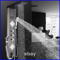 Shower Panel Tower Massage Jets Hand LED Shower Sprayer Tub Spout Mixer Tap Set
