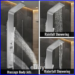 Shower Panel Tower Rainfall&Waterfall Massage Body System Jet Stainless Steel
