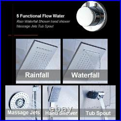Shower Panel Tower Rainfall&Waterfall Massage Body System Tub Tap Brushed Nickel