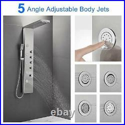 Shower Panel Tower, Rainfall Waterfall Shower Head, 5 Body Jets and 3 Brushed