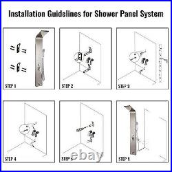 Shower Panel Tower Rainfall With Massage System Body Jet Tap Stainless Steel