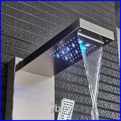 Shower Panel Tower System Brushed Nickel LED Rainfall Massage Jets Bodys Tap1
