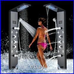 Shower Panel Tower System Column Massage Spa LED Rain Waterfall Head Bathtub Tap