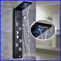 Shower Panel Tower System LED Light Rainfall Mist Head Rain Massage Stainless