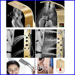 Shower Panel Tower System LED Rainfall Waterfall Massage System with Body Jet