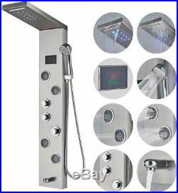 Shower Panel Tower System LED Rainfall Waterfall Shower Head 5-Function Faucet