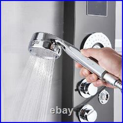 Shower Panel Tower System LED Waterfall&Rainfall Head Massage Jet Tub Filler Tap
