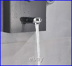 Shower Panel Tower System Stainless Steel 5-Function Faucet LED Rain Massage Jet