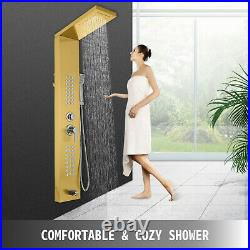 Shower Panel Tower System Stainless Steel Multi-Function with Spout Waterfall