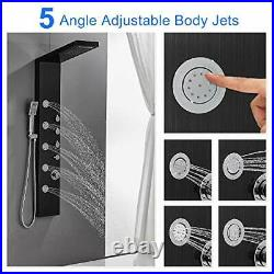 Shower Panel Tower with Rainfall Waterfall Shower Head, 5 Body Jets and Black