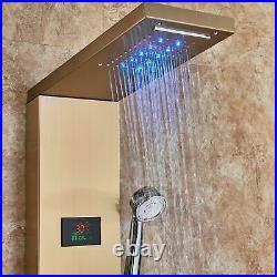 Shower Panel Waterfall Rain Shower Massage Jets LED Shower Bathroom Column GOLD