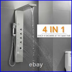 Shower Tower Rain Waterfall Shower Tower Panel System Massage Jet Brushed Nickel