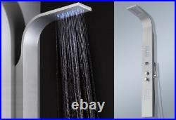 Silver Aluminium Shower Panel With LED Shower Column Shower Set Rain Shower