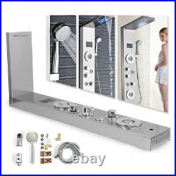 Silver Shower Panel Tower LED with Massage System Body Sprayer Jets Tub Spout