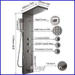 Silver Wall Mount Digital Display Rain Shower Panel Tower System Hand Shower Tap