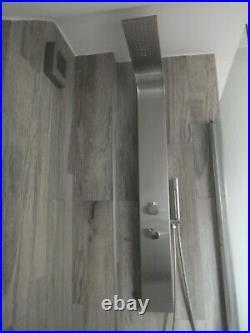 Soak. Com Modern Contemporary Brushed Steel Shower Panel Tower Bathroom Shower